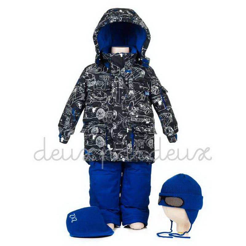 N813-491 W13 Костюм зимний для мальчика чёрный с синим полукомбинезоном на 2 - 3 года. Deux par Deux зима Цена